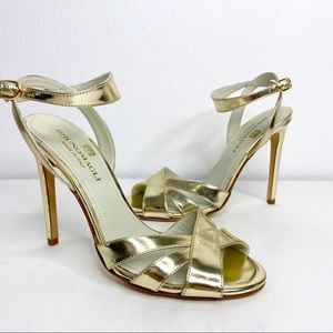 BRUNOMAGLI Mirror Leather Strappy Heel Sandal Gold